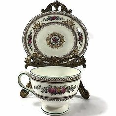Wedgwood China Columbia White Green Trim Enameled w595 Cup and Saucer