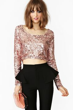 Brilliant Sequin Top. I want to wear this with my black high low skirt!