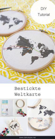 Drucke eine Weltkarte auf Stoff und sticke alle Orte ein, di du je bereist hast.  #dekotopia #diy #sticken #weltkarte #weltenbummler #reise #urlaubserinnerung #stickrahmen #urlaub #selbermachen