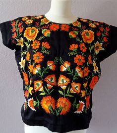 tehuana huipil mexican embroidery | Mexican Tehuana embroidered Huipil blouse Black Satin ORANGE flora MED ...
