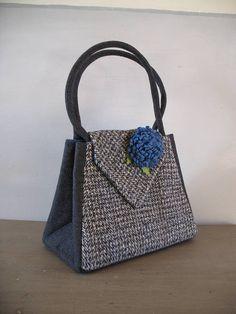grace handbag grey wool and grey tweed by hope and benson | notonthehighstreet.com