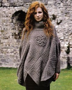 KNITTING PATTERN 9104 LADY S PONCHO w/Sleeves & Celtic Knot iCord Design DK