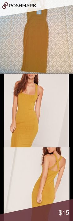 Misguided rib strap back bodycon dress yellow 4 Misguided rib strap back bodycon dress mustard yellow US Size 4, UK 8 Missguided Dresses Midi