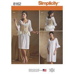 Simplicidad, coser la ropa interior del siglo XVIII patrón 8162 señoritas