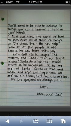 I don't think I'll ever actually say there's no Santa (my parents never did), but just in case.Santa Letter, for when the kids find out.absolutely LOVE this Noel Christmas, Christmas And New Year, Winter Christmas, All Things Christmas, Christmas Ideas, Christmas Traditions, Christmas Quotes, Christmas Inspiration, Christmas Letters
