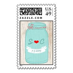 Red and Mint Mason Jar Wedding Postage Stamps