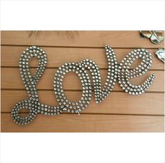 Large diamante bling LOVE sign wall hanging modern feature statement piece Listing in the Plaques & Signs,Decorative,Home & Garden Category on eBid United Kingdom