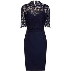 paper dolls Navy Floral Lace Overlay Dress ($110) ❤ liked on Polyvore featuring dresses, blue, navy floral dress, blue short sleeve dress, high neck dress, doll dress and blue babydoll dress