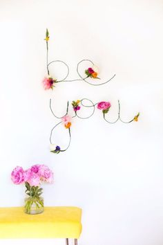DIY Teen Room Decor Ideas for Girls | DIY Floral And Wire Words | Cool Bedroom Decor, Wall Art & Signs, Crafts, Bedding, Fun Do It Yourself Projects and Room Ideas for Small Spaces http://diyprojectsforteens.com/diy-teen-bedroom-ideas-girls-rooms