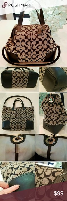 """COACH Hadley Signature Tote! Great Coach in signature C jacquard with black leather trim! Good condition with a few minor flaws as pictured -- some rubbing on one corner, barely visible (pic 2); slight scratch in leather (pic 3); discoloration on interior near straps that can maybe be cleaned (pic 3). Interior is baby blue with a black zipper pocket; some small pen marks throughout interior from typical use. Handles are in great condition; bottom looks great! 13.5"""" across, 11"""" high; 4.5""""…"""
