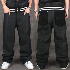 32.75$  Watch more here - http://aij8l.worlditems.win/all/product.php?id=32798985925 - 2017 Loose Hip Hop Jeans Street Dance Black Men Printed Jeans Men's Straight Casual Denim Trousers Hip-hop Clothing Flocking