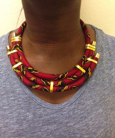 Red African Print Bib Necklace by Monabbey on Etsy