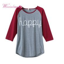 Women Spring Autumn Tops Long Sleeve O-neck Lady T-Shirt Happy Letter Printed Shirt Women Casual Clothing Plus Size S-XXXL LM93(China (Mainland))