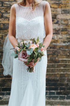 Bride in Rosa Clara Veleta Wedding Dress - Miss Gen Photography | Rosa Clara Veleta Wedding Dress | Gold Sequin Bridesmaid Dresses | Contemporary Wedding at 06 St Chad's Place | Geometric Decor | Bee's Bakery