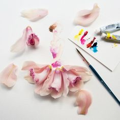 Artist Lim Zhi Wei, aka Limzy, combines her watercolors with real flowers and fashion illustration to create delicate and romantic artworks. Watercolor Girl, Watercolor Illustration, Flower Watercolor, Art Floral, Flower Petals, Flower Art, Flower Girls, Design Creation, Floral Fashion