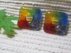 SQUARE Rainbow Bead / Kiln Cast Fused Glass Donut / Medium Focal Bead / Supplies / Red Orange Yellow Green Blue Purple by IntheShadeoftheSycamoreTree, $5.00 USD