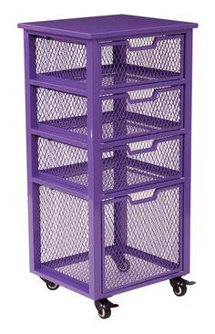 Purple storage trolley