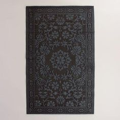 Black Floral Urban Floor Mat | World Market