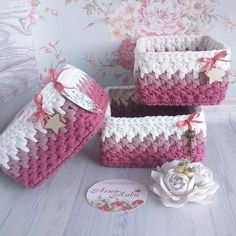 Crochet Basket Set of 4 Nursery decor, dorm decor, cosmetics skincare storage, crochet bowl, handmad Diy Crochet Basket, Crochet Bowl, Crochet Basket Pattern, Knit Basket, Crochet Stitches Patterns, Crochet Art, Free Crochet, Crochet Decoration, Crochet Accessories
