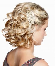 ... Formal Curly Updo Hairstyle Medium Blonde Side View ...