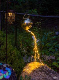 Solar light ideas for backyard spilling solar lights teapot lights Garden Art, Garden Design, Disney Garden, Solar Licht, Landscape Lighting Design, Solar String Lights, Solar Lights For Garden, Backyard Landscaping, Backyard Ideas