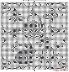 Готовимся к Пасхе. - Вышивка и все о ней - Страна Мам Filet Crochet Charts, Knitting Charts, Crochet Motif, Crochet Doilies, Crochet Stitches, Crochet Patterns, Cross Stitching, Cross Stitch Embroidery, Cross Stitch Patterns