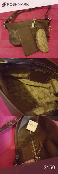 Brown Leather Coach Never Used-Leather Auth Perfect Dinner/Shopping Shoulder  Bag. Bundle will  INCLUDE previously loved Leather  Coach wallet and Coach eyeglass case!. Bags Shoulder Bags