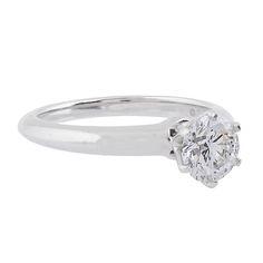 Tiffany & Co. Single Stone Diamond Platinum Engagement Ring