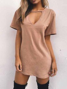 PopYourChic Popular Solid Color Short Sleeve V Neck Mini Dress