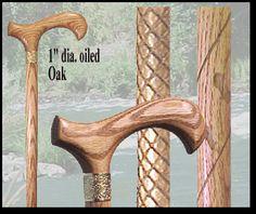 Diamond Carved Oak Cane