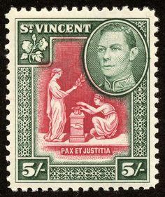 "St. Vincent  1938 Scott 150 5sh dark green & carmine ""Seal of Colony"""