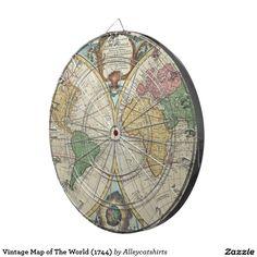 Vintage Map of The World (1744) Dartboards