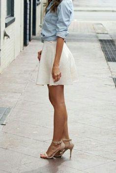 Very cute! Light denim shirt with skirt