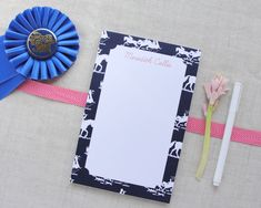 Personalized Equestrian Themed Chinoiserie Medium Notepad by MeredithColliePaper on Etsy