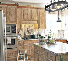 Farm Animal Kitchen Decor With Brown Cabinet And Unique Lighting |  Decolover.net