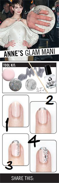 A great way to get Anne Hathaway's glam, blinged out accent nail; 1. Paint the nail a pale pink. 2. Add a silver french tip. 3. For extra sparkle, add a stripe of silver glitter down the side. 4. Add various sized rhinestones to complete the look!