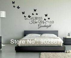 [funlife]-Exclusive 40x100cm Alaways Kiss Me Goodnight VInyl Art Wall Saying bedroom Quote decal+12 3D butterflies
