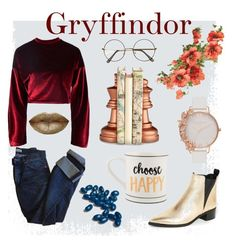 """perhaps you'll be in gryffindor"" by ajhoward1508 on Polyvore featuring Acne Studios, Boohoo, Jelly Belly, Olivia Burton and Cyan Design"