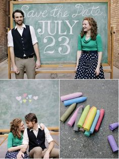 cute save the date idea. would be super cute at the wedding too for guests chalkboard