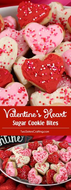 Valentine's Heart Sugar Cookie Bites - these yummy Valentine's Day Treats are so easy to decorate that even the youngest family member can join in on the fun. They are a super delicious bite-sized taste of sugar cookie and creamy buttercream frosting. You'll definitely want to make these Valentines Cookies for your loved ones this year! Pin this Valentine's Day dessert for later and follow us for more great Valentine's Day Food Ideas. #valentinesday #valentines #valentinesdaydesserts