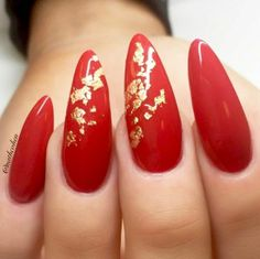 Almond Nails. Red and Gold Nails. Gel Nails. Acrylic Nails.