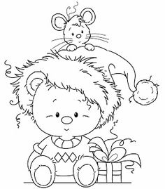 Wee stamp freebie, mouse in the hat Whimsy Stamps, Digi Stamps, Christmas Coloring Pages, Coloring Book Pages, Illustration Noel, Christmas Drawing, Christmas Embroidery, Christmas Colors, Black Christmas