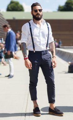 look masculino suspensório calça curta