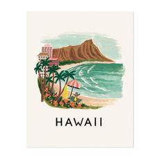 <p>Affiche Hawaï, illustration de l'ambiance hawaïenne en version vintage et colorée, design Riffle paper&co, fabriquée et imprimée aux USA. On aime son côté rétro et très décoratif, une vraie invitation aux voyages...!- deco-graphic.com