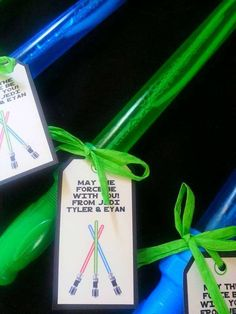 Light saber favors at a Star Wars birthday party! See more party planning ideas at CatchMyParty.com!