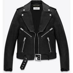 Saint Laurent Geometric Motorcycle Jacket In Black Leather (22.380 DKK) ❤ liked on Polyvore featuring outerwear, jackets, leather jacket, coats & jackets, black, leather moto jackets, yves saint laurent jacket, snap jacket, biker jackets and leather biker jacket