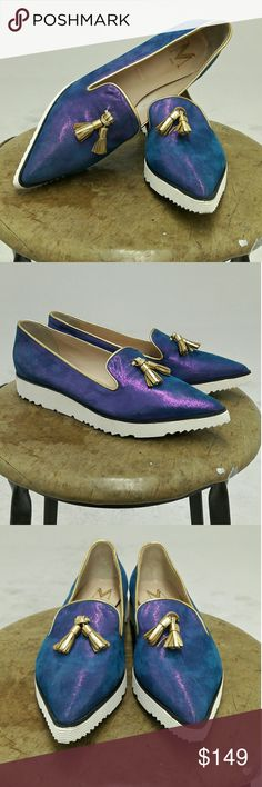 Pietra Creepers Upper consists of Irridiscent purple/blue Italian calf suede. Sole consists of white multi lite foam. Sample handcrafted in New York City at our factory.  Size 39.. italian sizing. Style runs hald size small. Modern Vice Shoes Ankle Boots & Booties