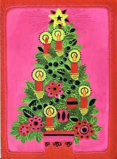 Vintage CLEO Christmas Card - Mod Christmas Tree