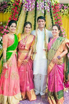 T&A designing Collections. Half Saree Designs, Bridal Blouse Designs, Dress Designs, Half Saree Lehenga, Saree Dress, Silk Lehenga, Silk Sarees, South Indian Weddings, South Indian Bride
