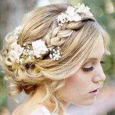 This is too pretty! Elegant with a touch of floral boho! #weddings #weddinghair #weddingideas #weddinginspiration
